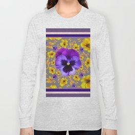 PUCE PANSIES YELLOW BUTTERFLIES & FLOWERS Long Sleeve T-shirt