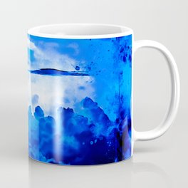 cloudy sky blue turquoise splatter watercolor Coffee Mug