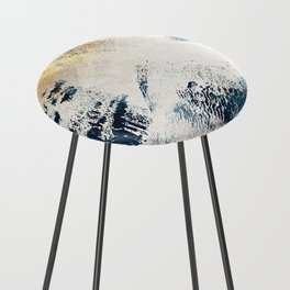 Sunset [1]: a bright, colorful abstract piece in blue, gold, and white by Alyssa Hamilton Art Counter Stool