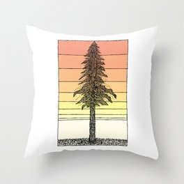 Coastal Redwood Sunset Sketch Throw Pillow