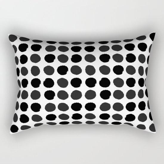 Black and white minimal paint brush painterly dots polka dots minimal modern dorm college painting Rectangular Pillow