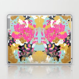 Laurel - Abstract painting in a free style with bold colors gold, navy, pink, blush, white, turquois Laptop & iPad Skin