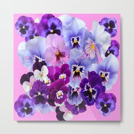 SPRING COLLECTION PURPLE-PINK PANSIES Metal Print