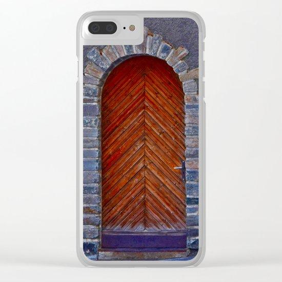 Wood Door Clear iPhone Case