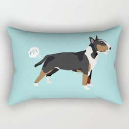 Bull Terrier tricolored dog breed funny dog fart Rectangular Pillow