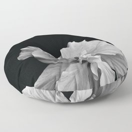 Hibiscus Drama - Black and Grey Floor Pillow