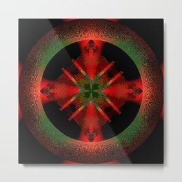 Spinning Wheel Hubcap in Scarlet Metal Print