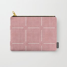 Block Print Simple Squares in Coral Carry-All Pouch
