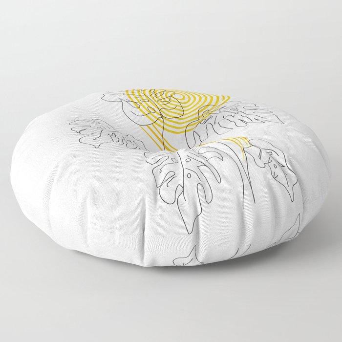 Monstera line Art Floor Pillow