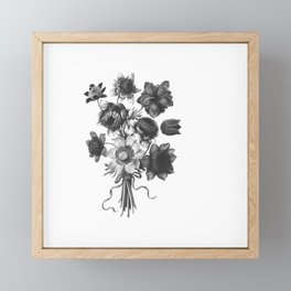 Spring Wildflowers with Ribbons Black and White Framed Mini Art Print