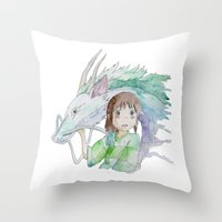 chihiro Throw Pillows featuring Chihiro and Haku by Wetherall