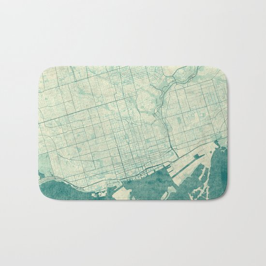 Toronto Map Blue Vintage Bath Mat