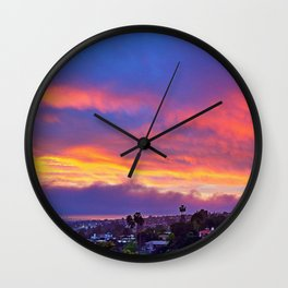 """Dream big & make it happen"" quote pink, yellow & blue sunrise Wall Clock"