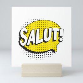 "Say ""HELLO"" in french in retro pop art style Mini Art Print"