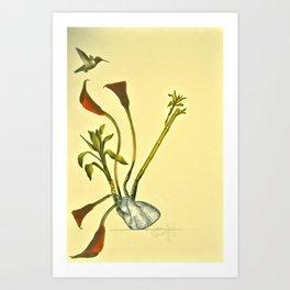 Hearts and Hummingbirds Art Print