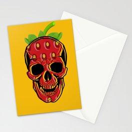 Strawberry Skull head Yellow Stationery Cards