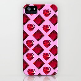 ENCRUSTED RUBY JEWELED  VALENTINE HEARTS  DESIGN iPhone Case