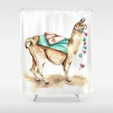 Watercolor Llama Shower Curtain