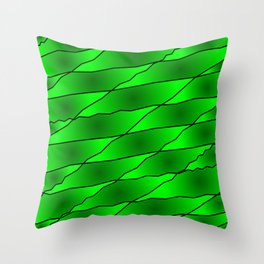 Slanting iridescent lines and rhombuses on green with intersection of glare. Throw Pillow