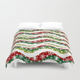 Christmas waves and snowflakes Duvet Cover