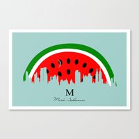 watermelon Canvas Prints featuring watermelon by mark ashkenazi