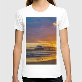 Lone Seagull at Sunset - Newport Pier T-shirt