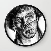 johnlock Wall Clocks featuring Sherlock by Amanda (Lemonlegs4)