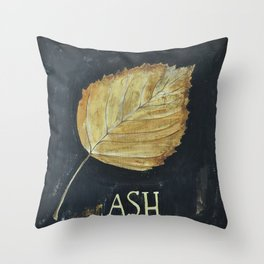 Hand-Painted Fall Ash Leaf Throw Pillow