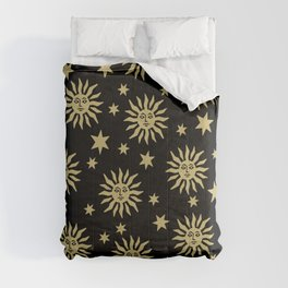 Mid Century Modern Sun and Star Pattern Black and Gold Comforters