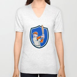 Baseball Player Batting Stance Crest Cartoon Unisex V-Neck