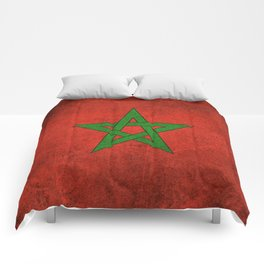 Old and Worn Distressed Vintage Flag of Morocco Comforters