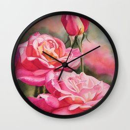 Blushing Roses with Bud Wall Clock