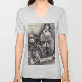 Gord Downie  Tribute Pen & Ink Drawing Unisex V-Neck