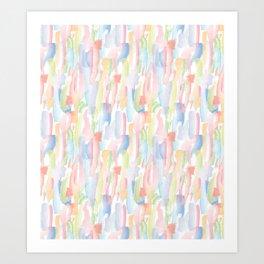 Abstract Brushstrokes - Pastels Art Print