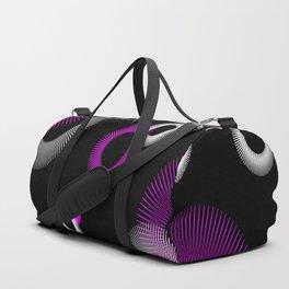 Pink White Starburst Sunburst Black Duffle Bag