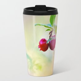Macro shot of cowberry in forest Travel Mug