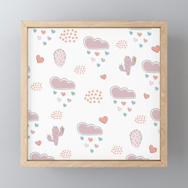 Seamless hand drawn cloud pattern with hearts and clouds Framed Mini Art Print
