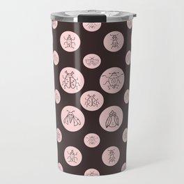Polka bots circles with insects burgundy pink Travel Mug