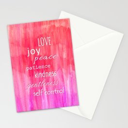 Inspirational Text on Pink Watercolor Abstract Stationery Cards