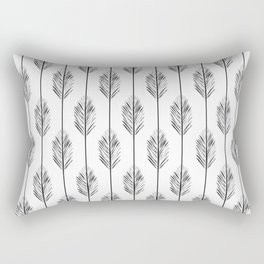Black and White Redwood Leaf Rectangular Pillow