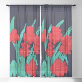 Red flowers gladiolus art nouveau style Sheer Curtain