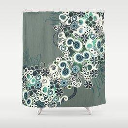 Diagonal flower – blue and green fiber Shower Curtain