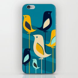 Mid Century Birds Blue iPhone Skin