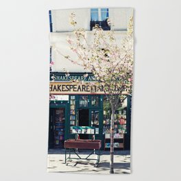 Cherry blossoms in Paris, Shakespeare & Co. Beach Towel