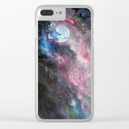 Space and the Moon Clear iPhone Case