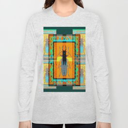 WESTERN TEAL TURQUOISE BEETLE ORANGE ART DESIGN Long Sleeve T-shirt
