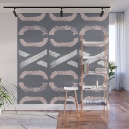 Shapes Of Love - Retro Grey Pink Pastel Wall Mural