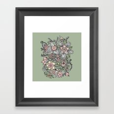 Modern green pink floral handdrawn pattern Framed Art Print