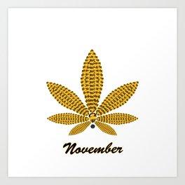 Birthstoned Leaf of Month, November Citrine Art Print