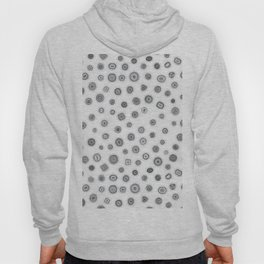 Hand Drawn Buttons Black and White Hoody